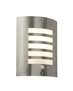 Saxby ST031FPIR Bianco PIR Wall Light in Brushed Stainless Steel