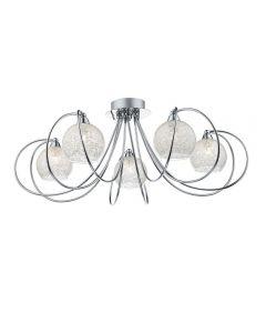Dar RAF5450 Rafferty 5 Light Semi Flush Ceiling Light In Chrome With Crystal Sparkle Shades
