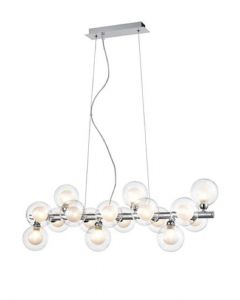 F2400-16 16 Light Ceiling Bar Pendant In Chrome With Clear Glass