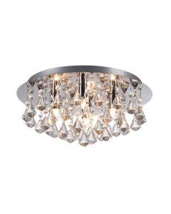 Diane Modern 4 Light Crystal Flush Ceiling Light In Chrome