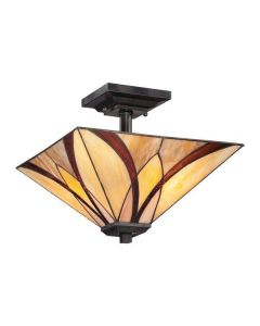 QZ/ASHEVILLE/SF Asheville Tiffany Semi Flush Ceiling Pendant
