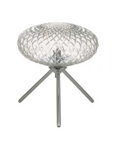 Dar BIB4108 Bibiana 1 Light Table Lamp In Polished Chrome With Clear Glass - Height: 230mm