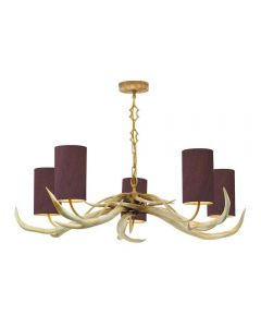 David Hunt Lighting ANT0599 Antler 5 Light Pendant Ceiling Light  With Choice Of Bleached Shades