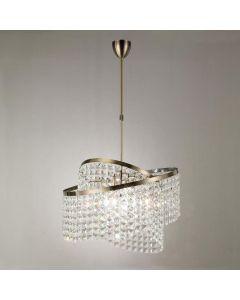 IL30094 Cortina 8 Light Antique Brass Crystal Pendant