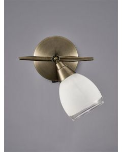 SP8981 1 Light Wall Light In Bronze With Clear Edged White Glass Shades