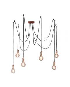 Endon 76580 Studio 6 Light Ceiling Pendant In Copper Plate And Black
