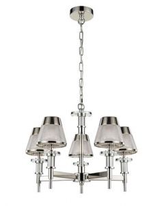 F2379-5 Five Light Ceiling Multi Arm Pendant Light In Chrome With Textured Glass