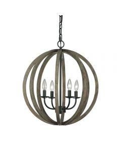 FE/ALLIER/4P WW Allier 4 Light Oak Wood and Iron Ceiling Pendant