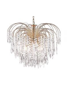 Searchlight 5175-5 Waterfall Gold 5  Light Ceiling Pendant