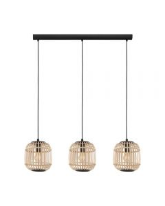 Eglo 43217 Bordesley 3 Light Linear Ceiling Light In Natural Wood And Black