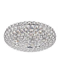 Dar FRO5450 Frost 5 Light Chrome And Crystal Flush Ceiling Light