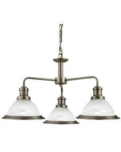 Searchlight 1593-3AB Bistro 3 Way  Ceiling Pendant Light Antique Brass