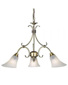 Endon 144-3AN 3 Light Chandelier In Antique Brass
