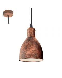 Eglo 49492 Priddy 1 One Light Ceiling Pendant Light In Antique Copper