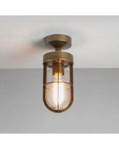 Astro Lighting 1368002 Cabin Exterior Semi Flush Ceiling Light in Antique Brass