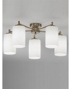 F2253/5 Bronze 5 Light Semi-Flush Ceiling Light