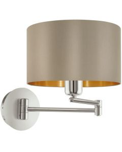 Eglo 95055 Maserlo One Light Wall Light In Satin Nickel With Taupe And Gold Shade