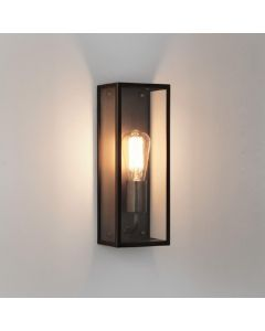 Astro 1183007 Messina One Light Outdoor Wall Light In Bronze Plate With Clear Glass - W: 130mm