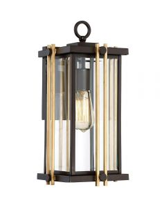 QZ/GOLDENROD2/M Golden Rod Medium Outdoor Wall Lantern In Bronze - H: 413mm
