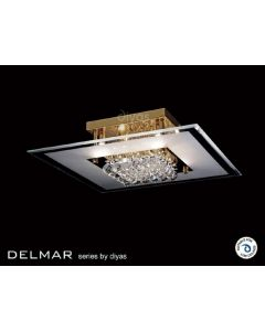 IL32022 Delamar 6 Light Gold And Crystal Flush Ceiling Lamp