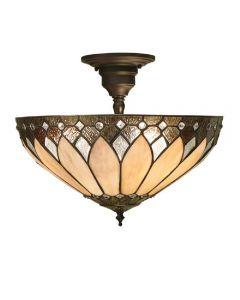 Interiors 1900 63978 Brooklyn Tiffany 3 Light Medium Semi Flush Ceiling Light in Cream