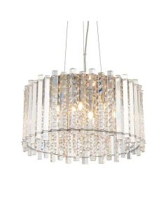 5 Light Ceiling Pendant Light In Chrome Plate Glass And Clear Glass