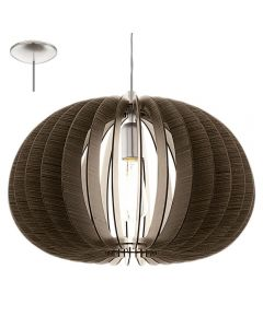 Eglo 94638 Cossano One Light Ceiling Pendant Light In Brown Wood - Dia: 450mm