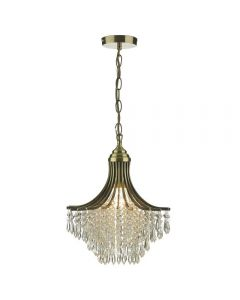 Dar SUR0108 Suri Crystal Pendant Ceiling Light In Antique Brass
