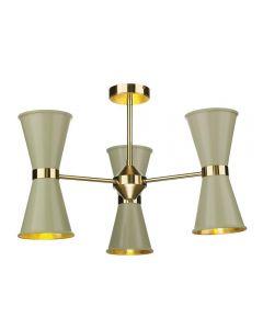 David Hunt Lighting HYD062 Hyde Six Light Multi-Arm Semi Flush Ceiling Light In Brass With Pebble Metal Shades