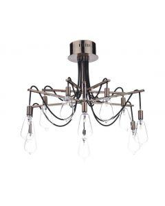 Dar SCR2364 Scroll 10 light Copper Semi Flush Ceiling Light
