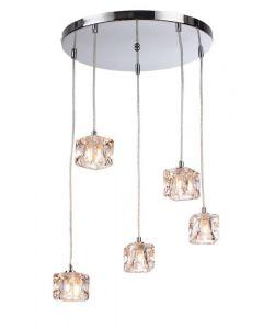 Modern 5 Light Ice Cube Spiral Cluster Ceiling Pendant Light