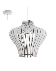 Eglo 95253 Cossano 2 One Light Ceiling Pendant Light In White Wood - Dia: 380mm