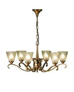 Interiors 1900 63437 Columbia 6 Light Ceiling Pendant Light in Brass With Deco Style Glass Shades