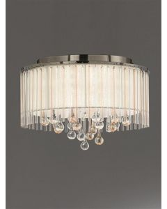F2345/6 Small 6 Light Flush Ceiling Light In Bronze With Crystal Glass Drops