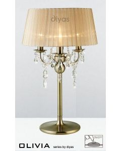 IL30065SB Olivia Antique Brass 3 Light Table Lamp with Bronze Shade
