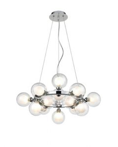 F2400-15 15 Light Ceiling Pendant In Chrome With Clear Glass