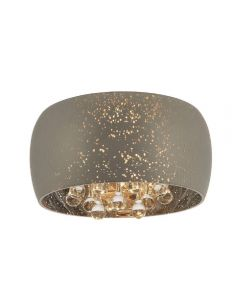 3 Light Flush Ceiling Light In Chrome Plate Glass And Clear Glass