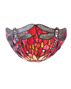 Interiors 1900 64105 Dragonfly Red 1 Light Wall Light In Bronze With Shade