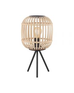 Eglo 43218 Bordesley 1 Light Tripod Style Table Light In Natural Wood And Black