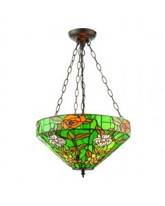 Interiors 1900 74438 Agapantha Inverted 3 Light Pendant Light In Vivid Green With Tiffany Shade