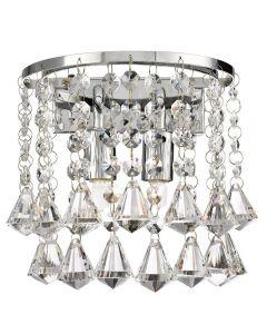 Searchlight 3302-2CC Hanna Chrome And Crystal 2 Light Wall Lamp