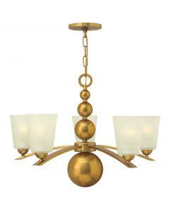 HK/ZELDA5 VS Vintage Brass Zelda 5 Light Chandelier with Glass Shades