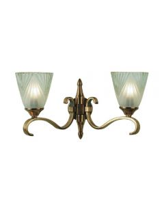 Interiors 1900 63451 Columbia Twin Wall Light In Brass With Deco Style Glass Shades