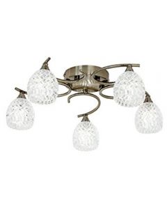 Endon BOYER-5AB 5 Light Antique Brass Semi Flush Ceiling Light