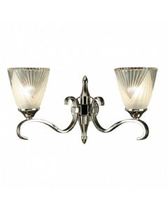 Interiors 1900 63455 Columbia Twin Wall Light In Nickel With Deco Style Glass Shades