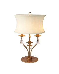 Elstead WINDSOR/TL Windsor 2 Light Table Lamp In Gold Patina With Shade