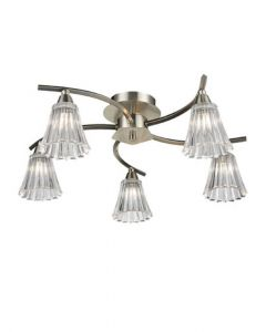 F2376-5 Five Light Semi Flush Ceiling Light In Satin Nickel With Clear Glass Shades