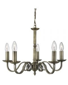Searchlight 1505-5AB Richmond Multi Arm Ceiling Light Antique Brass Finish