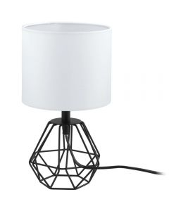 Eglo 95789 Carlton 2 One Light Table Lamp In Black With White Fabric Shade
