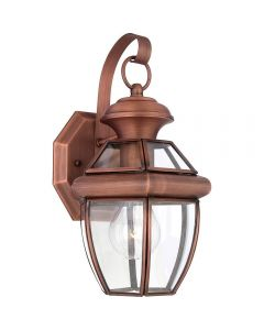 QZ/NEWBURY2/SAC Newbury Small Outdoor Wall Lantern In Aged Copper - H: 292mm